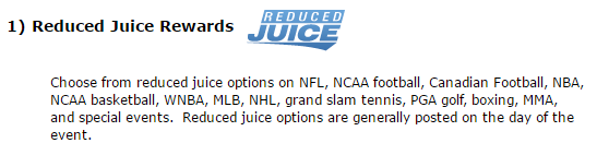 5Dimes Reduced Juice Bonus