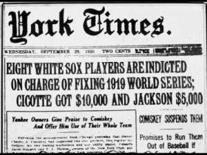 Baseball History Of Match Fixing During The 1919 World Series In A New York Newspaper Report