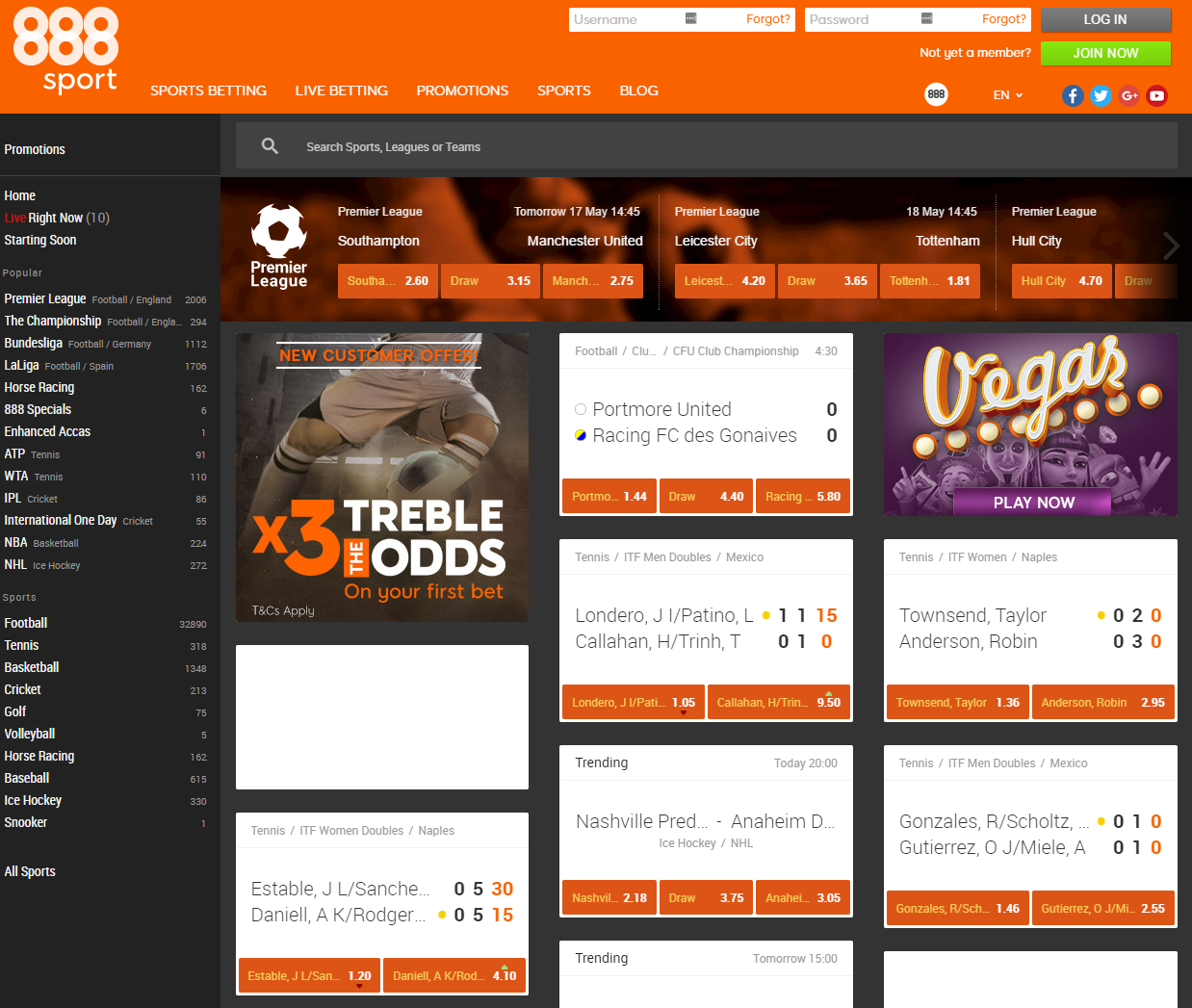 888 Sports Betting Main Page