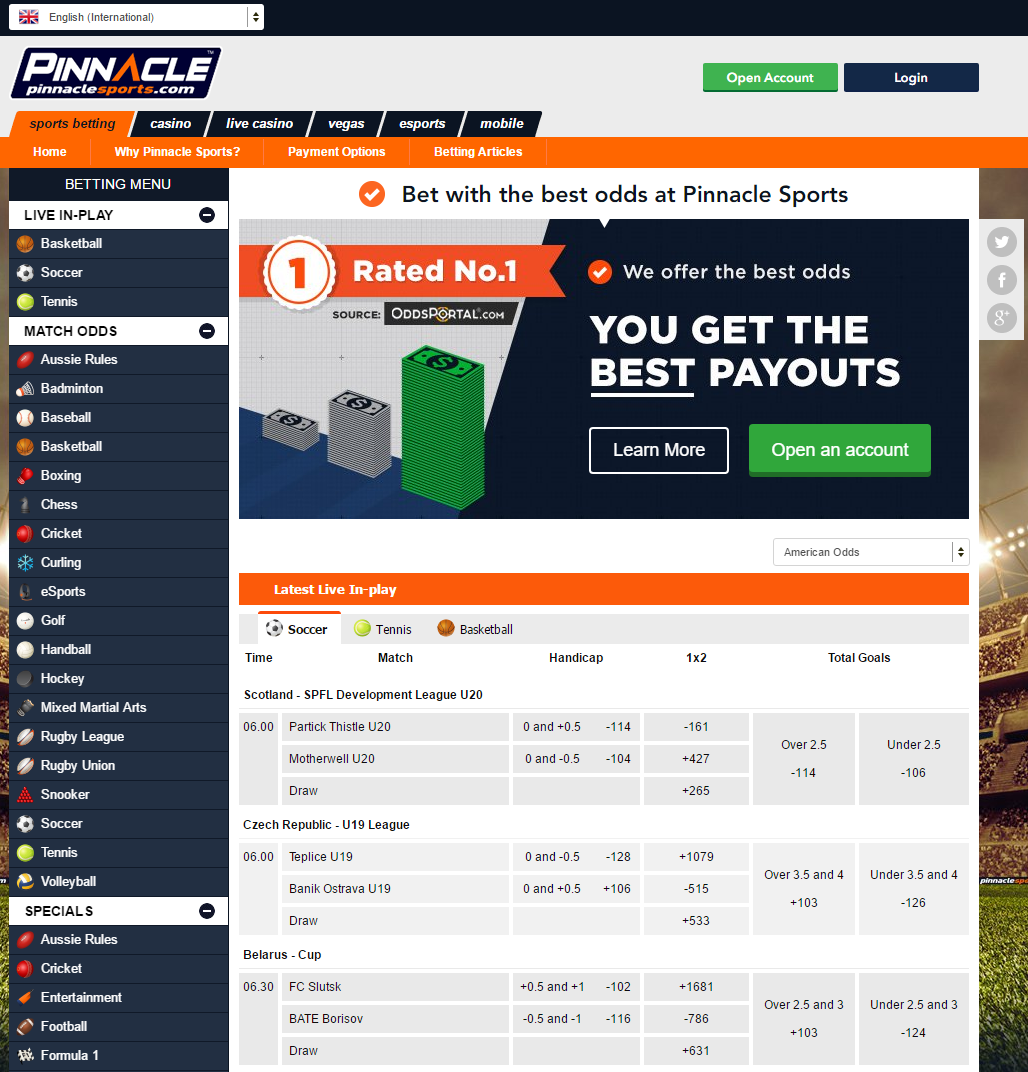 Pinnacle Sportsbook Betting Software Interface - Home Page