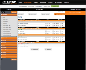 BetNow Sportsbook Betting Interface