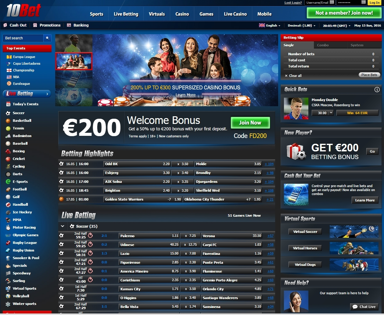 10Bet Sportsbook Main Page Betting Software Interface