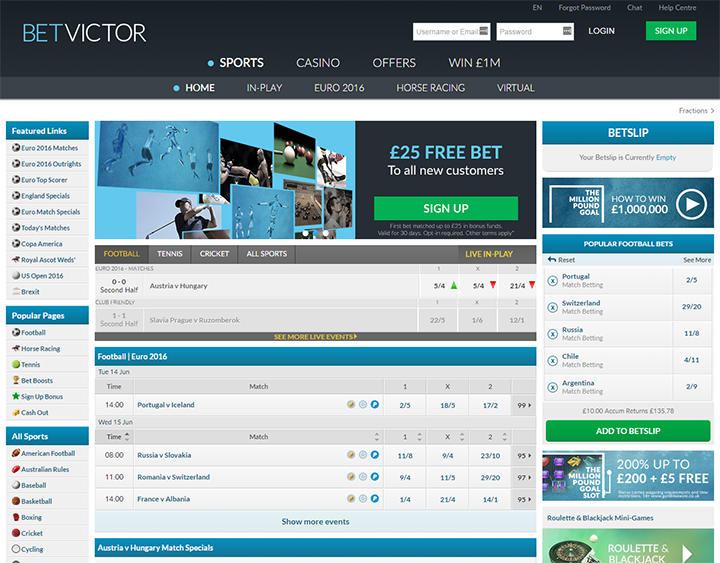 BetVictor Betting Interface