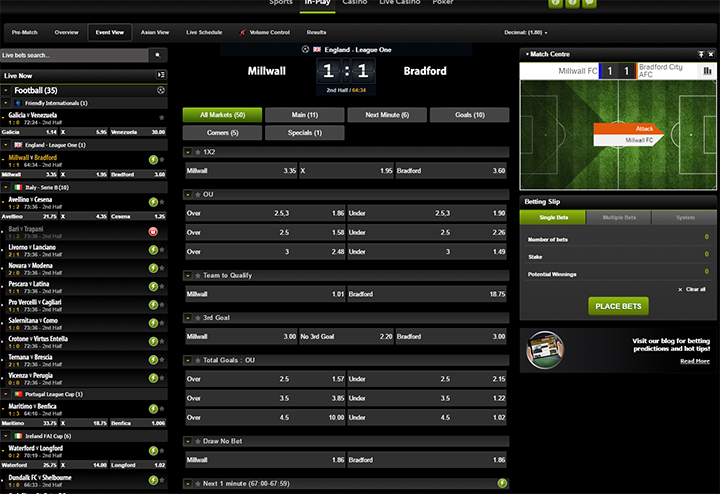 ComeOn In Play Betting Interface