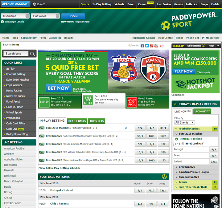 Paddy Power Main Site Software Interface