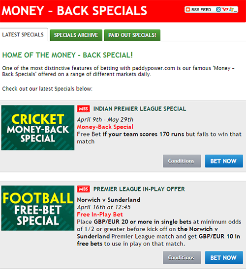 Paddy Power Money Back Special Promotion