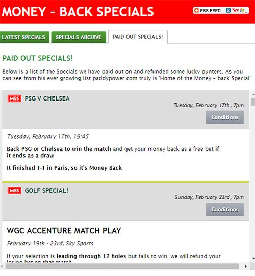 Paddy Power Paid Money Back - List Of Paid Back Events