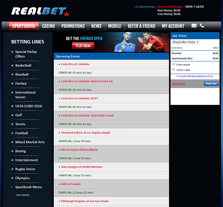 RealBet Sportsbook Betting Interface
