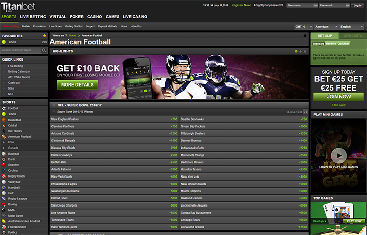 TitanBet Sportsbook Betting Software Interface - Website Homepage