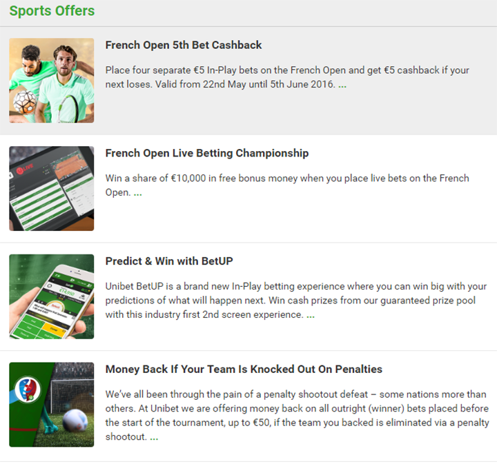 Unibet Sportsbook Detailed Promotions
