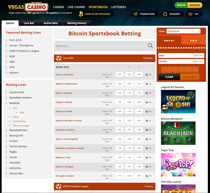 VegasCasino.io Main Page Landing Page - Betting Interface