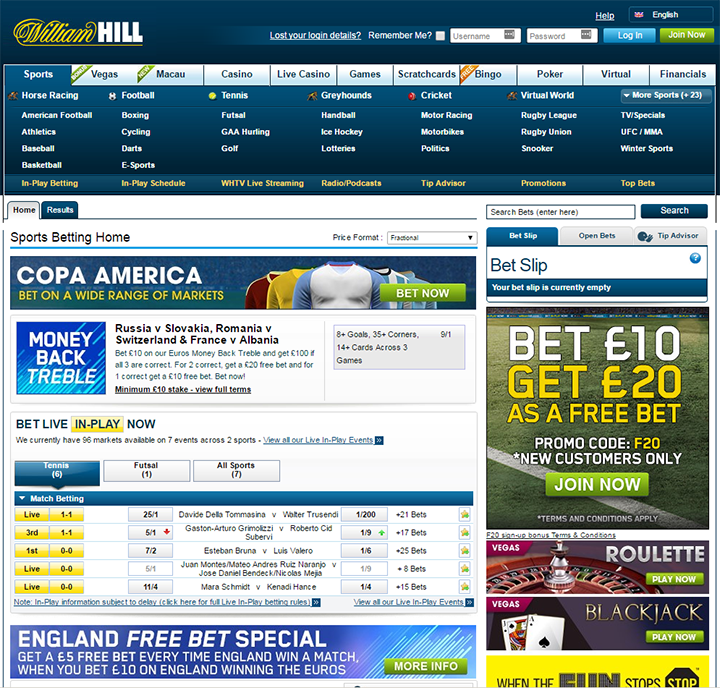 William Hill Website Betting Interface