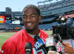 (Boston, MA 05/11/16) Quarterback #7 Jacoby Brissett talks with reporters during the New England Patriots introduction of the offensive rookies to the media at Gillette Stadium on Wednesday, May 11, 2016. Staff photo by John Wilcox.