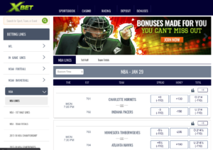 XBet Sportsbook Betting Software Interface Homepage