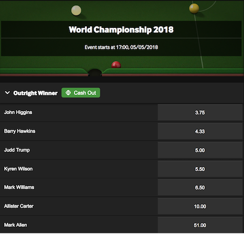 Snooker Odds