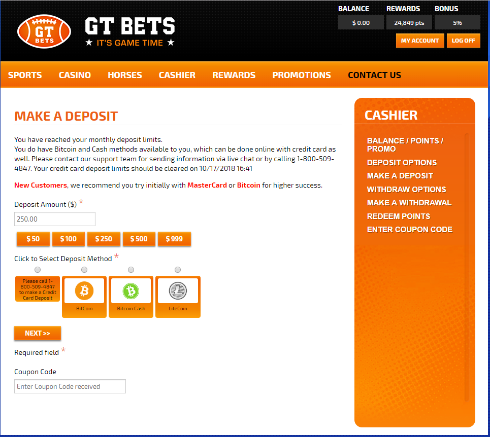 GTBets Deposit Page