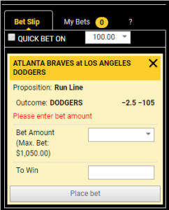 MLB Live Betting Bet Slip