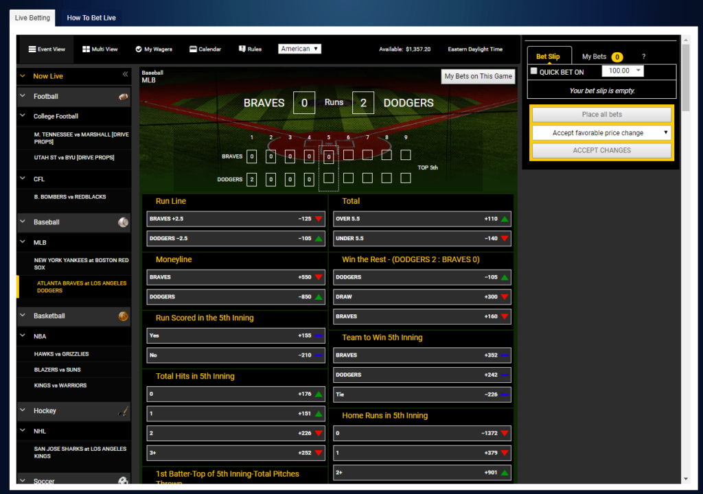MLB Live Betting Feature