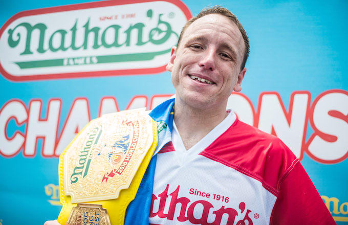 joey chestnut at nathan's hot dog competition