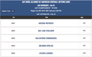 Alliance of American Football Betting Lines