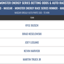 NASCAR 2019 O'Reilly Auto Parts 500 Odds & Picks