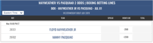 MAYWEATHER VS PACQUIAO 2 ODDS | BOXING BETTING LINES