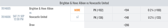 Newcastle United vs Brighton Lines And Odds