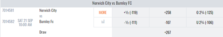 Burnley vs Norwich City Lines And Odds