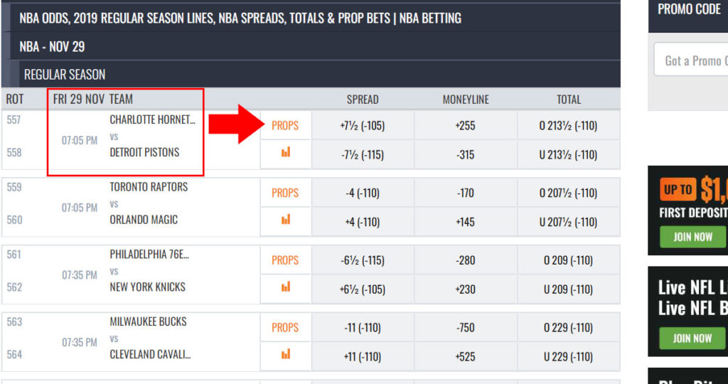 Pick the NBA match to bet on Props