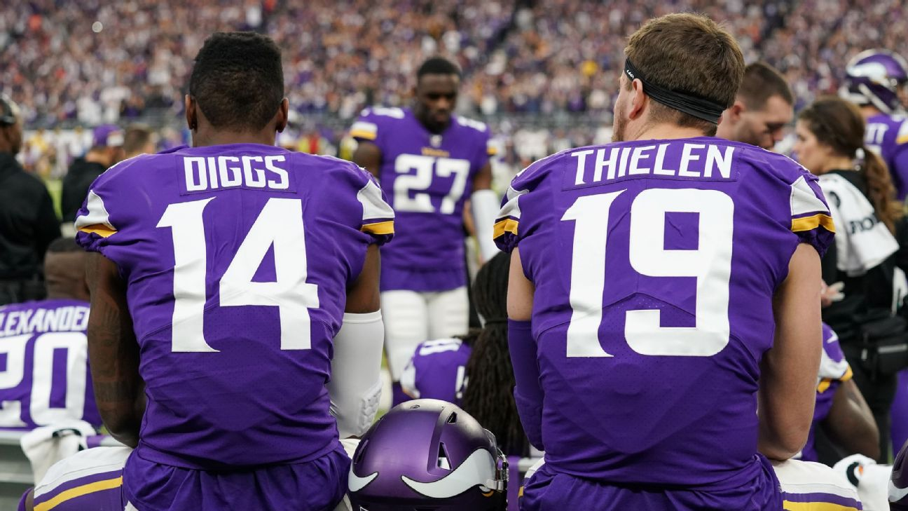 Thielen and Diggs missed practice on Wednesday, ahead of the matchup between the Vikings and the 49ers