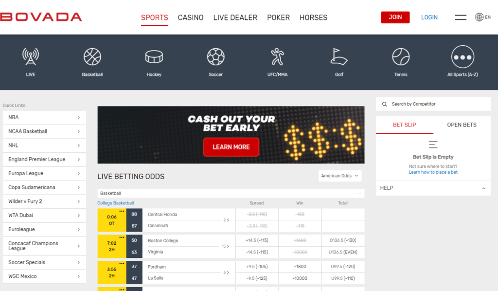 Bovada live betting interface