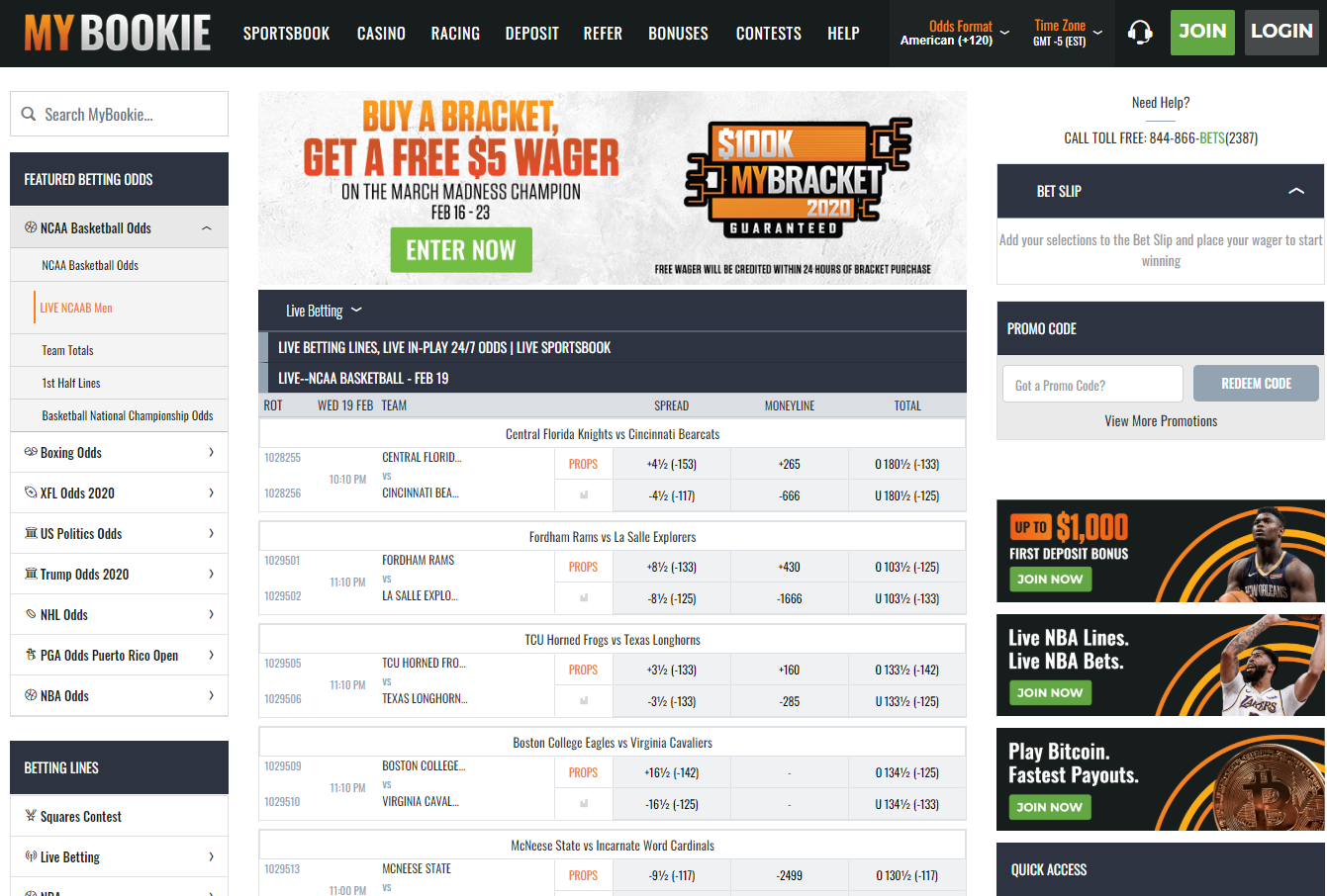 Mybookie Live Betting Interface