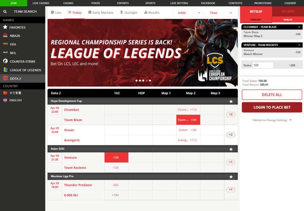 BetOnline eSports Betting Interface