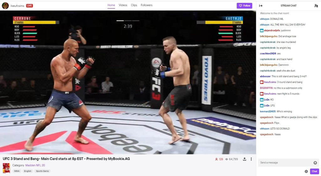 Betting On UFC3 Simulations