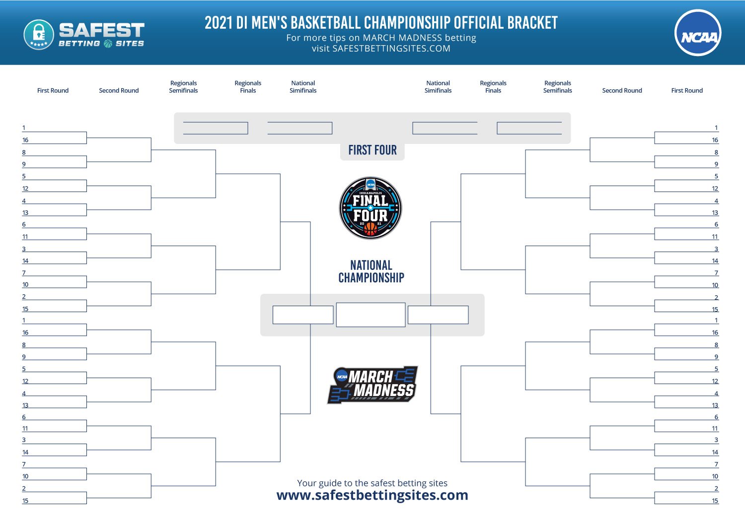 March Madness Bracket Printable Template